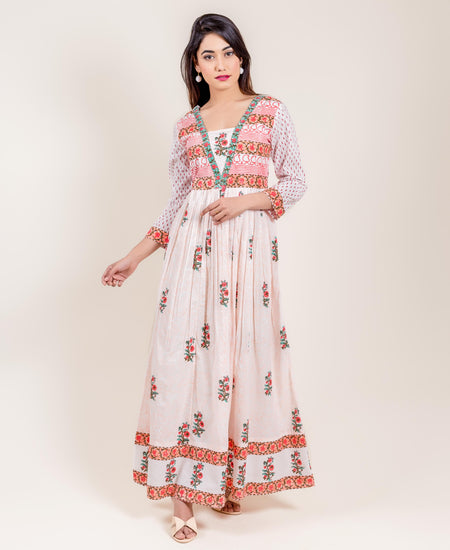 Embroidered & Printed Voile Long Anarkali Dress