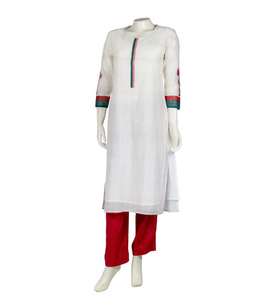 White Hand Block Printed Kurta