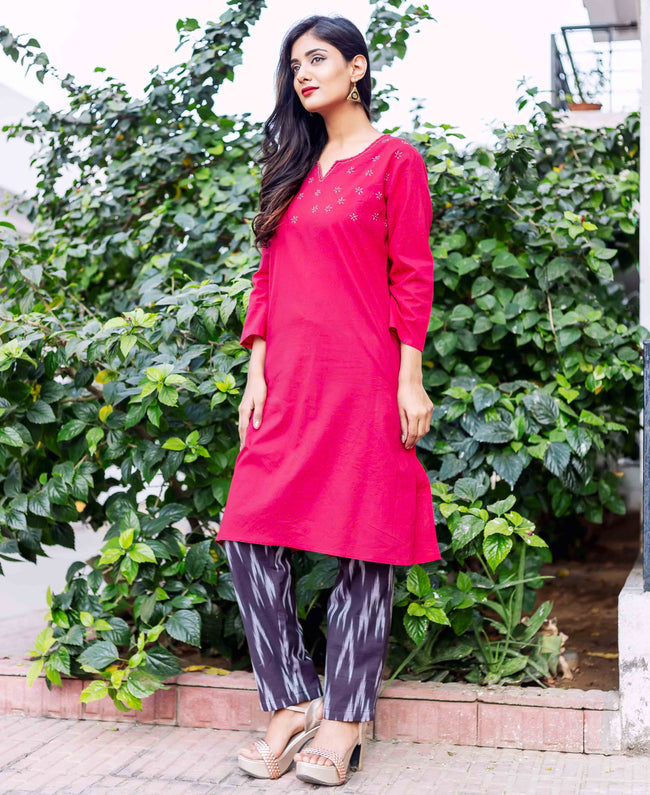 hand block printed kurta with pants online shopping
