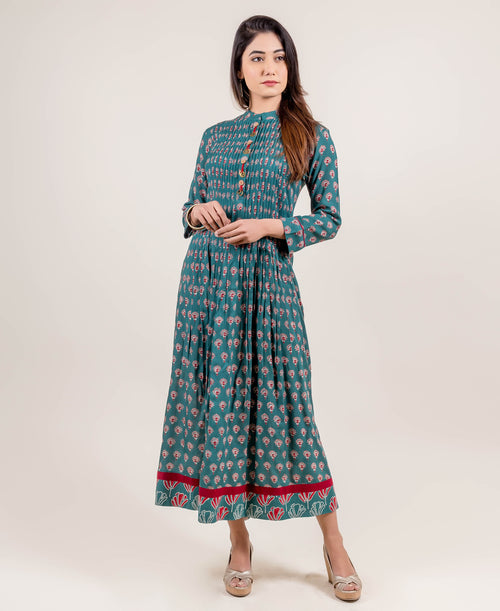 Hand Block Printed Long Teal Dress with Open Pintuck