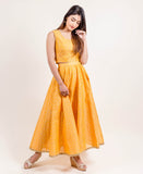 yellow long designer indo western dresses for women online shopping