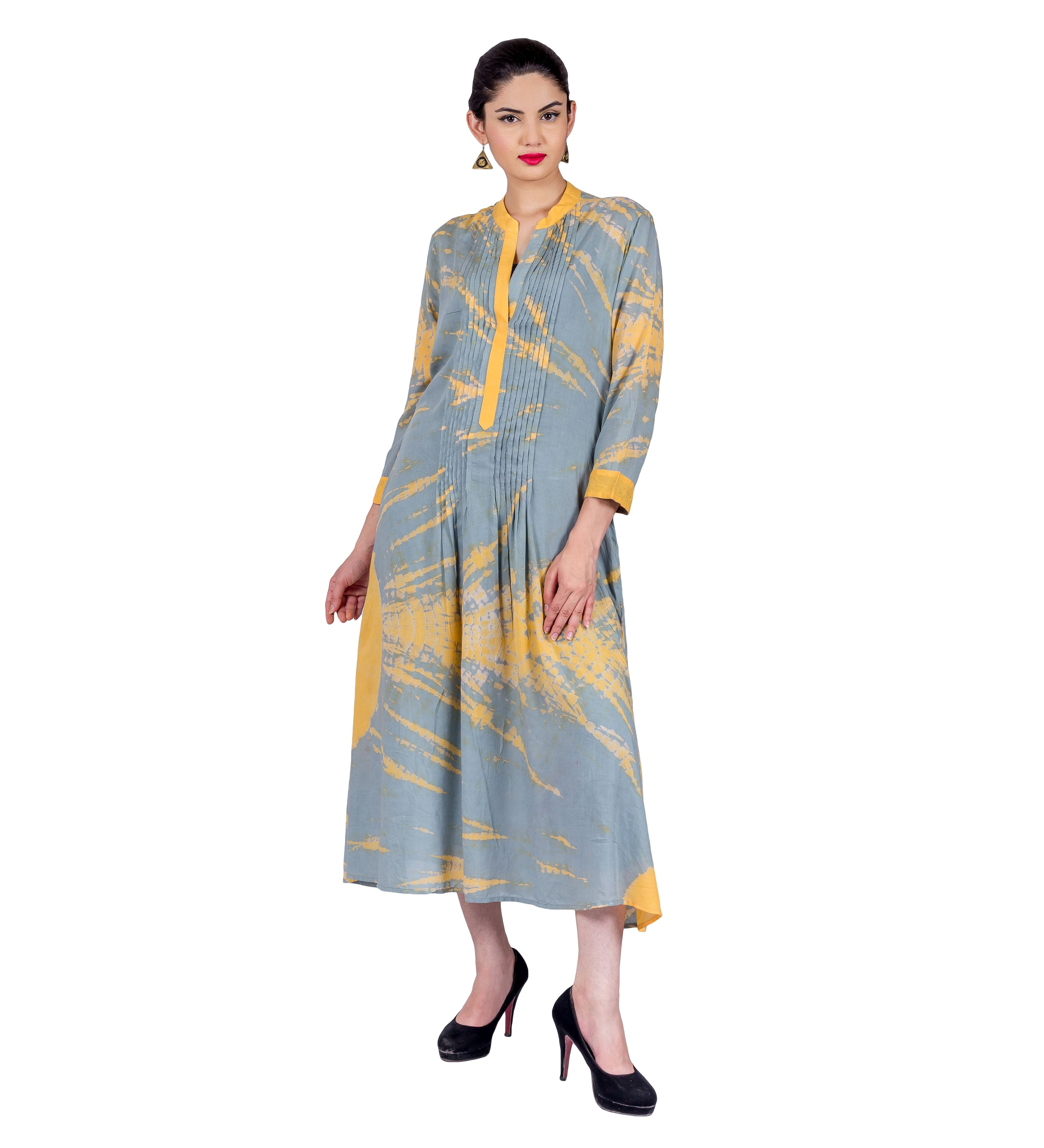 Grey / Yellow Pintuck Tie and Dye Indo Western Dress