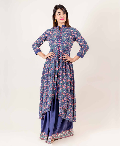Mandarin Collared Asymmetrical Hemline Suit Set In Blue And Pink