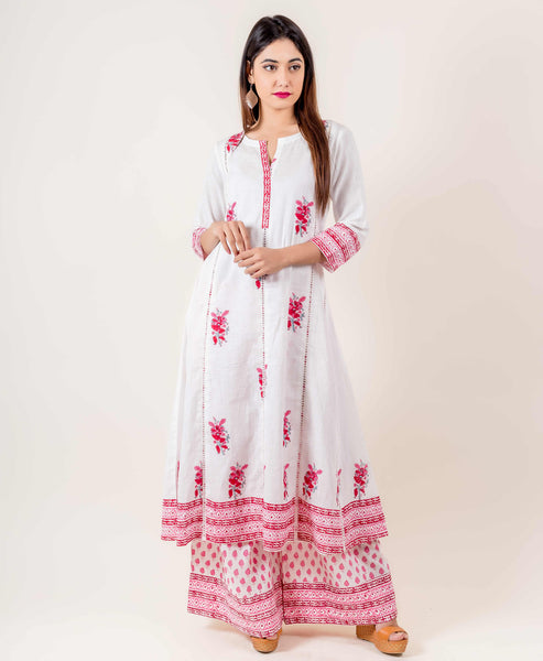 White And Pink Hand Block Printed Suit Set