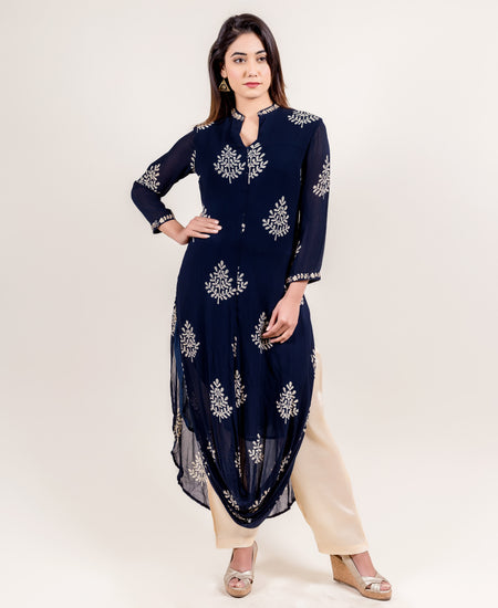 Navy Blue Layered Hand Block Print Indo Western Dress with Waist Belt