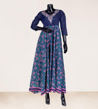 V-neck empire cut pittan appliqu̩ embroidered floor length indo western dress