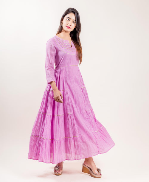 Quarter Sleeved Cotton Pink Tiered Full Length Dresses online shopping