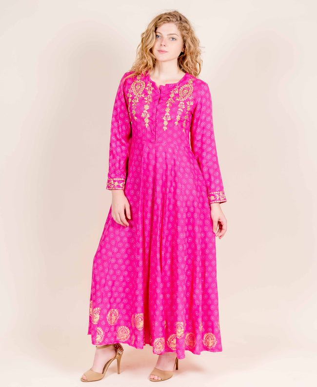 Full Sleeves Long Designer Block Printed Dresses online shopping