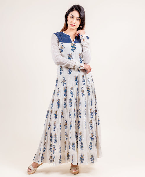 White / Blue Floral Indo Western Dress / Evening Gown