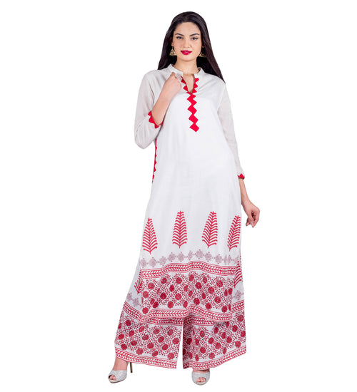 Flat Mandarin Collar Straight Cut Kurta With Flared Palazzo