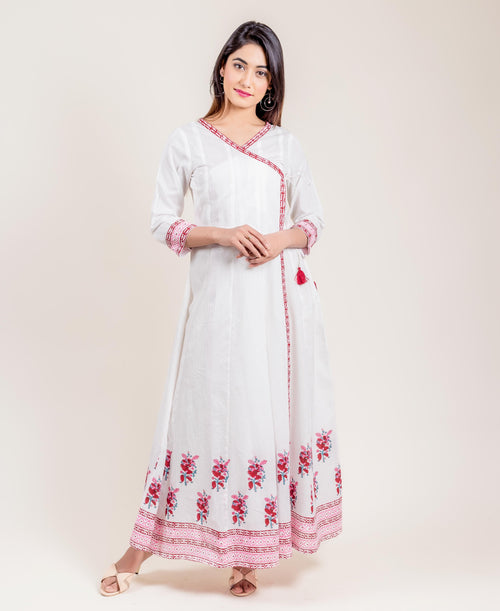 Tasseled White Printed Cotton Angrakha Long Dress