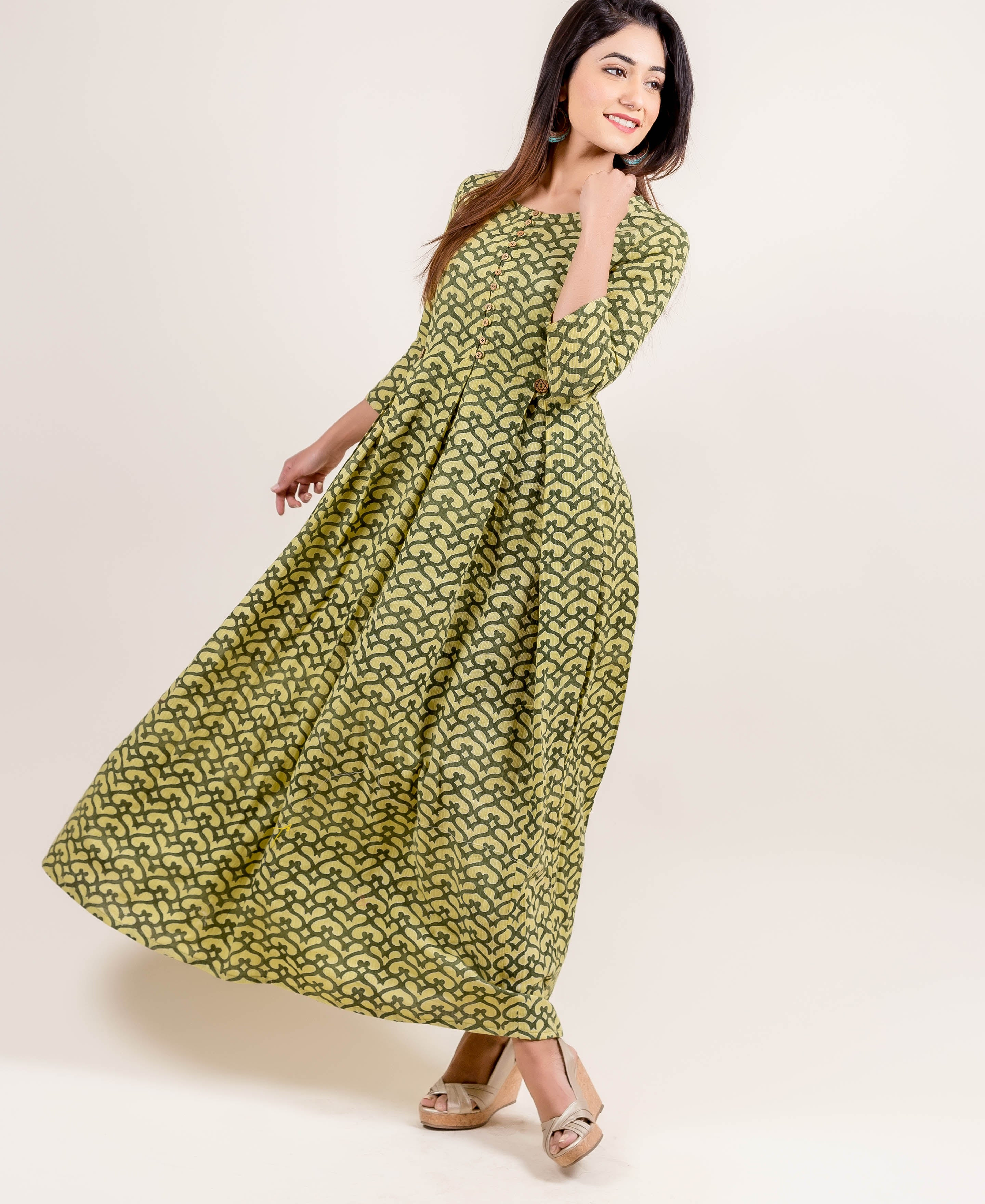 Ravishing Box Pleated Long Anarkali Gown Dress In Lime And Sage