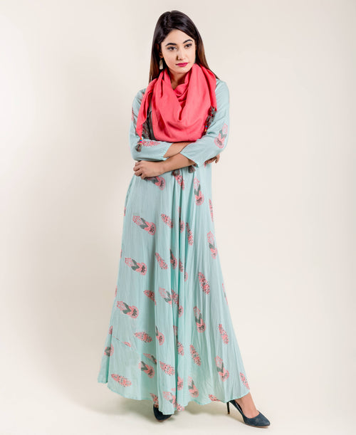 Aqua Pink Flared Floor Length Indo Western Maxi Dress Tasseled Scarf