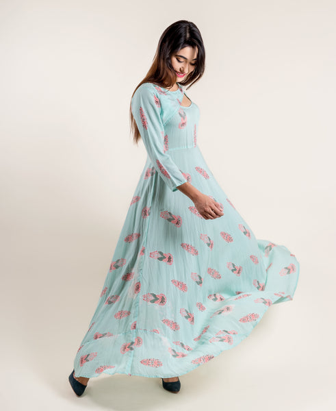 Aqua Pink Flared Floor Length Indo Western Floor Length Dress
