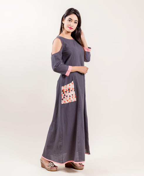 Embroidered Cotton Cold Shoulder Designer Long Gowns for women online shopping