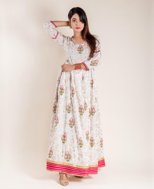 White Hand Block Printed Floor Length Flared Princess Gown