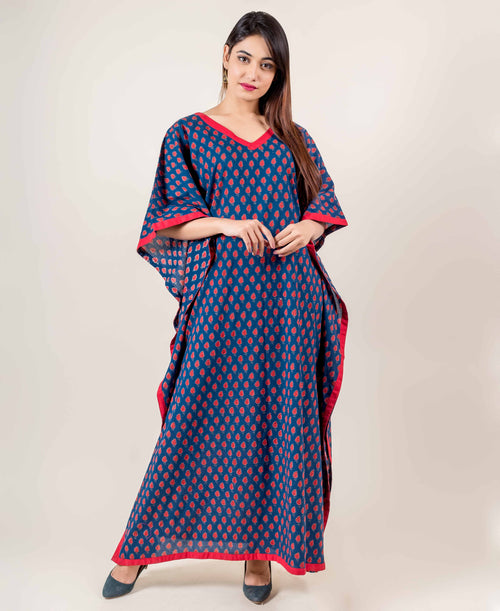 Blue Hand Block Printed Kaftan With Red Motifs