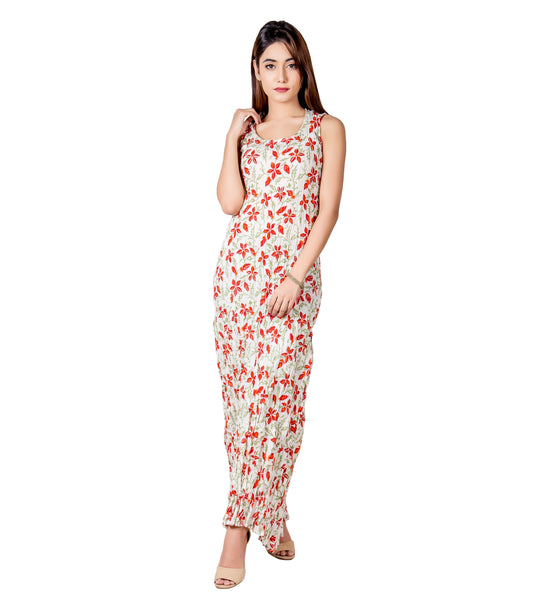 White and Red Indo Western Long Dress for Women