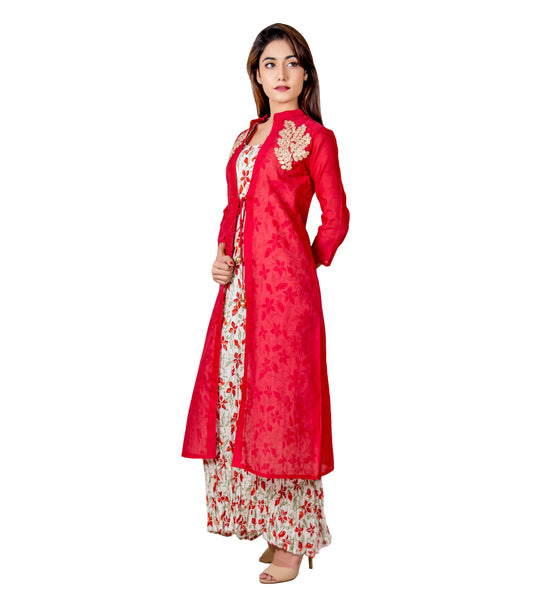 Off-White and Red Indo Western Style Long Dress with Chanderi Jacket