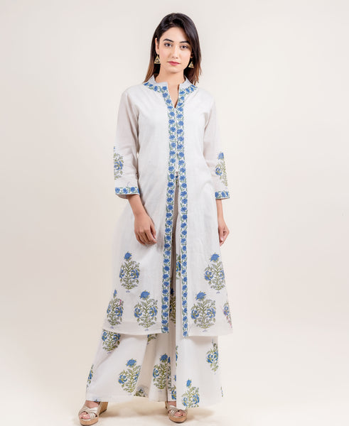 White and Blue Block Printed Indo Western Kurta with Palazzo