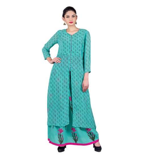 Teal Blue / Magenta Front Slit Indo Western Kurti with Skirt