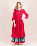 Maroon Long Designer Indo Western Kurti with Long Skirts online shopping