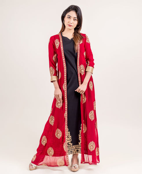 Fresh And Sassy Designer Jacketed Long Dress With Gold Prints