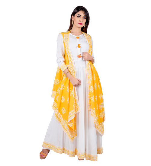 Yellow / White Indo Western Maxi Dress with Waterfall Shrug