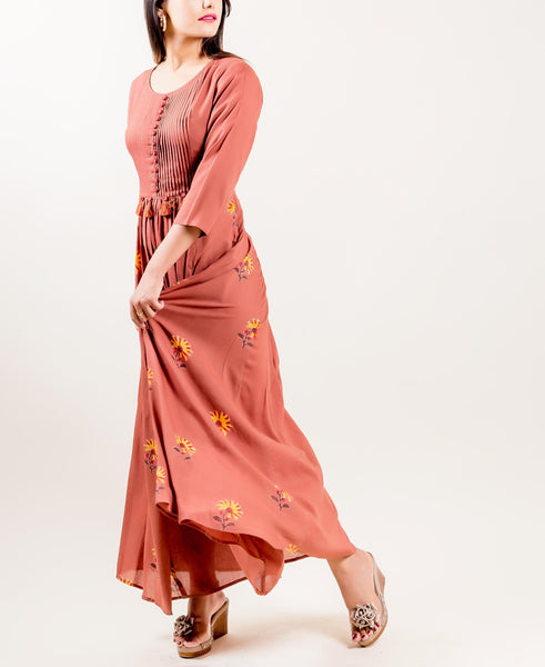 Modal Tasseled Hand Block Printed Round Neck Indo Western gowns online shopping