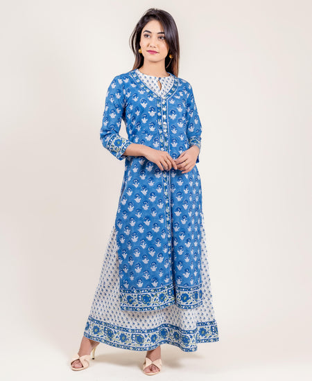 Aqua Cotton Tiered Indo Western Dress