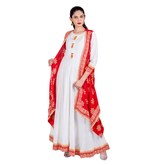 Vermilion/ White Indo Western Maxi Dress with Waterfall Shrug