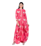 Pink Hand Block Print Indo Western Dress with Front Tassels