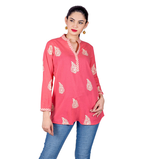 Peach Split Mandarin Collar Handi Printed Ethnic Short Kurti