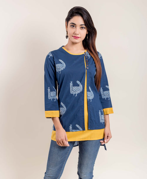 Indigo Yellow Double Layered Side Buttoned Printed Ethnic  Short Kurti