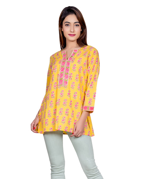 Yellow And Pink Hand Block Printed Short Kurti With Run Stich