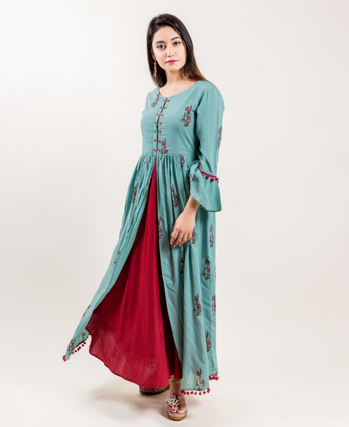 Rayon Double Layered Front Slit Long Indo Western Dresses for women