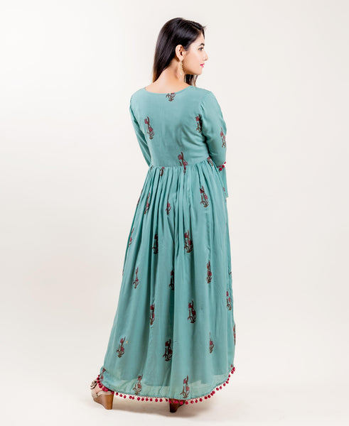 Double Layered Front Slit Indo Western Long Gowns for Women Online Shopping
