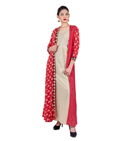 Rust Hand Block Printed Long Jacket Dress with Beige Inner