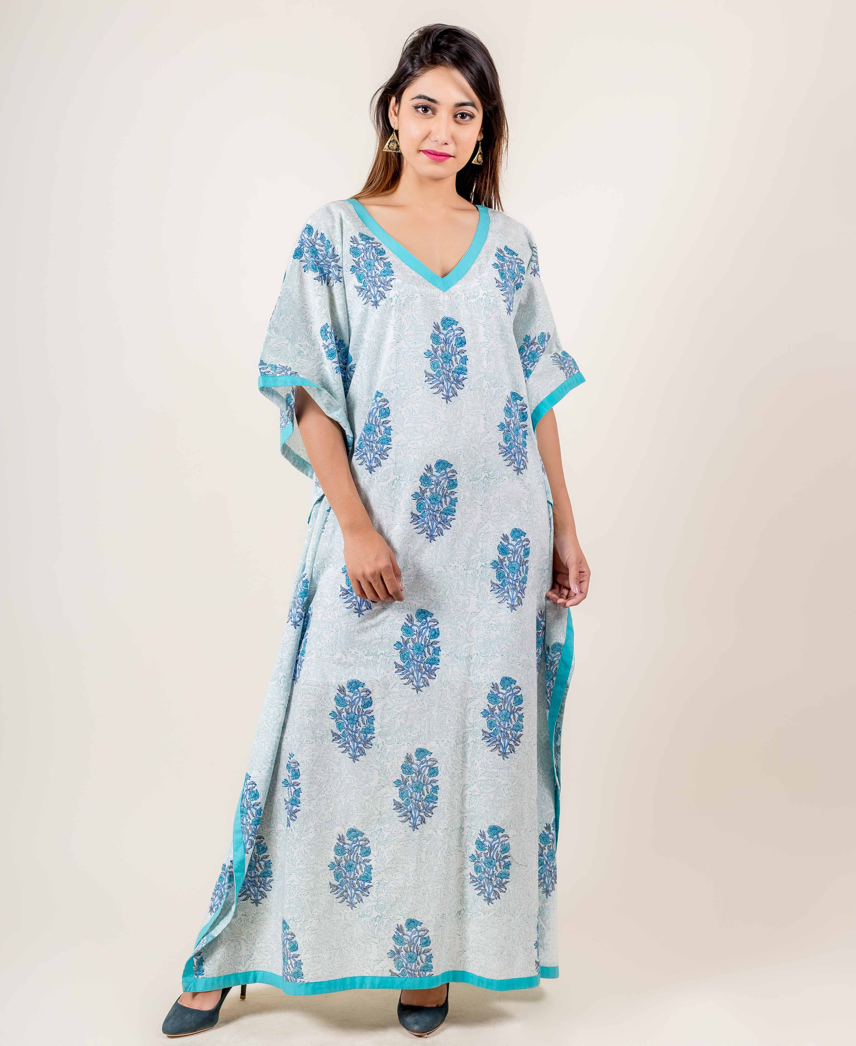 Beautiful Kaftan Dress In White And Light Blue With V-Neckline