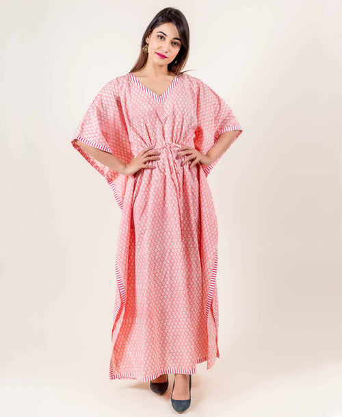 V Neckline Pink Indian Block Printed Long Kaftan With White Borders