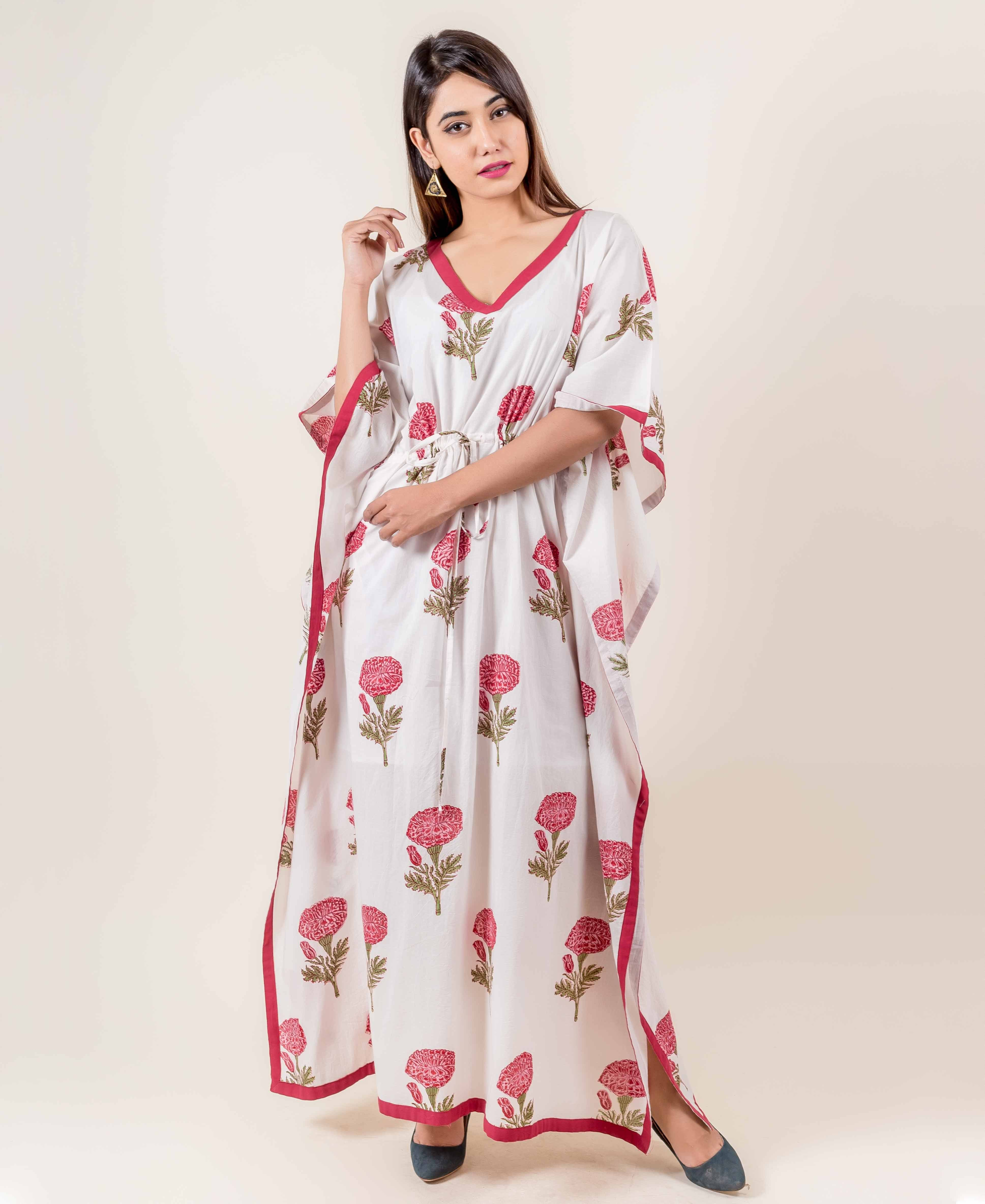 White Hand Block Printed Kaftan With Pink Floral Prints