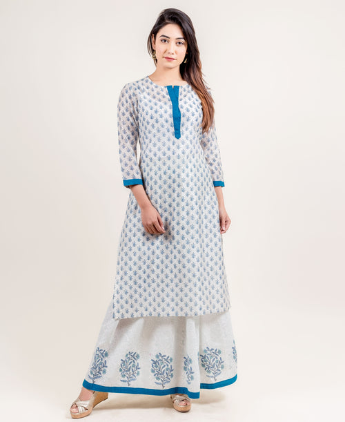 White and Blue Hand Block Printed Indo Western Kurta with Skirt
