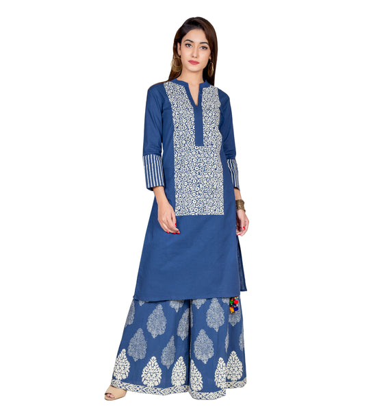 Indigo Blue Hand Block Printed Kurta and Palazzo