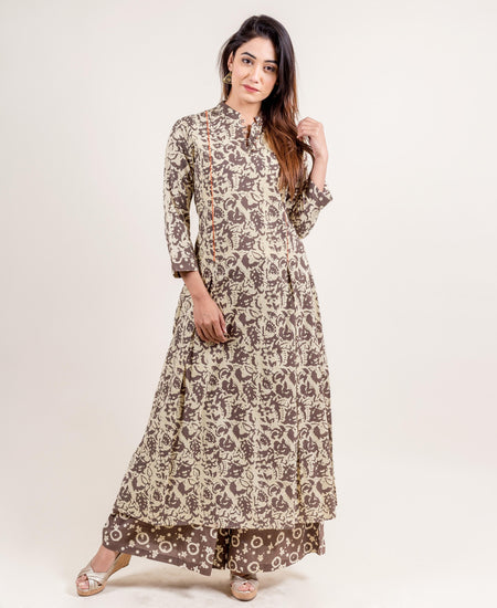 A Cut Yellow and White Cotton Hand Block Printed Kurta