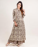 Kimono Collar Front Pleated Brown and Beige Anarkali Kurti