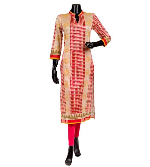 Beige and Red Hand Block Printed Kurta