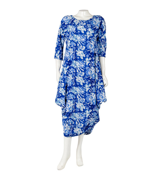 Indigo Block Print Balloon Dress