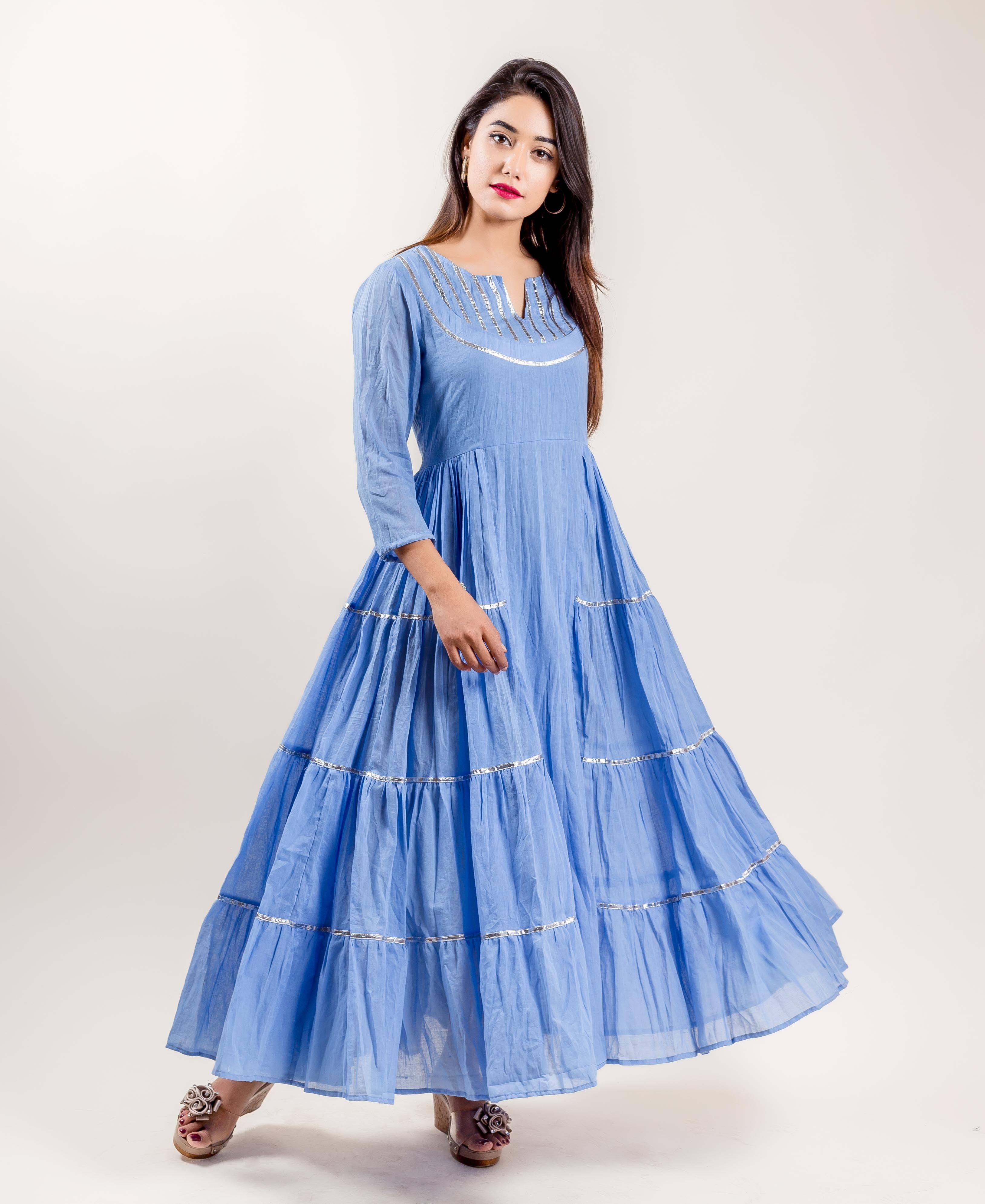 Blue Cotton Tiered Indo Western Style Gown Dresses for women online