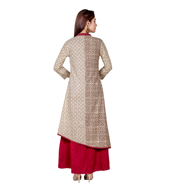 Indo Western Style Long Dress with Asymmetrical Kurta