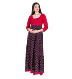 Red / Black Hand Block Printed Long Indo Western Dress with Pintuck Embroidery